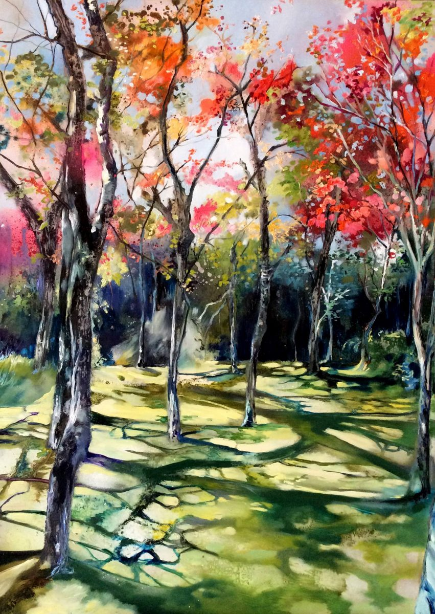 Spring Blossom - A beautiful landscape painting of a pathway through the trees on a sunny autumn day
