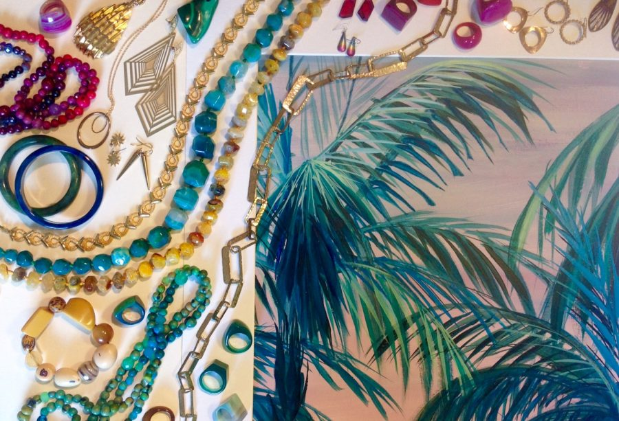Jewellery by clair Boubli, Painting by Shyama Ruffell