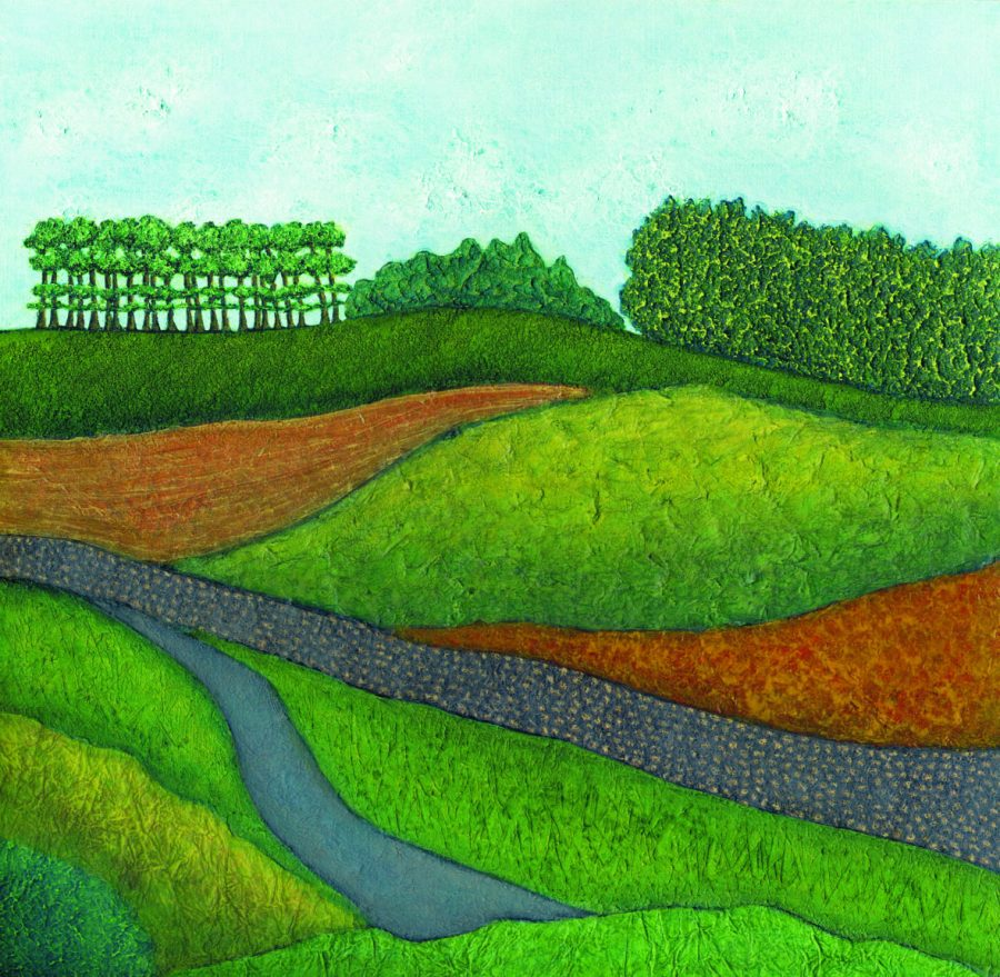 Acrylic and Collage Painting of South Downs by Troy Ohlson