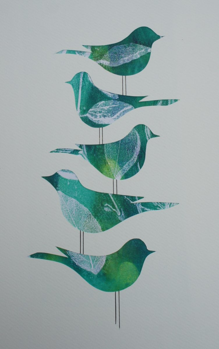 Gelli print of birds