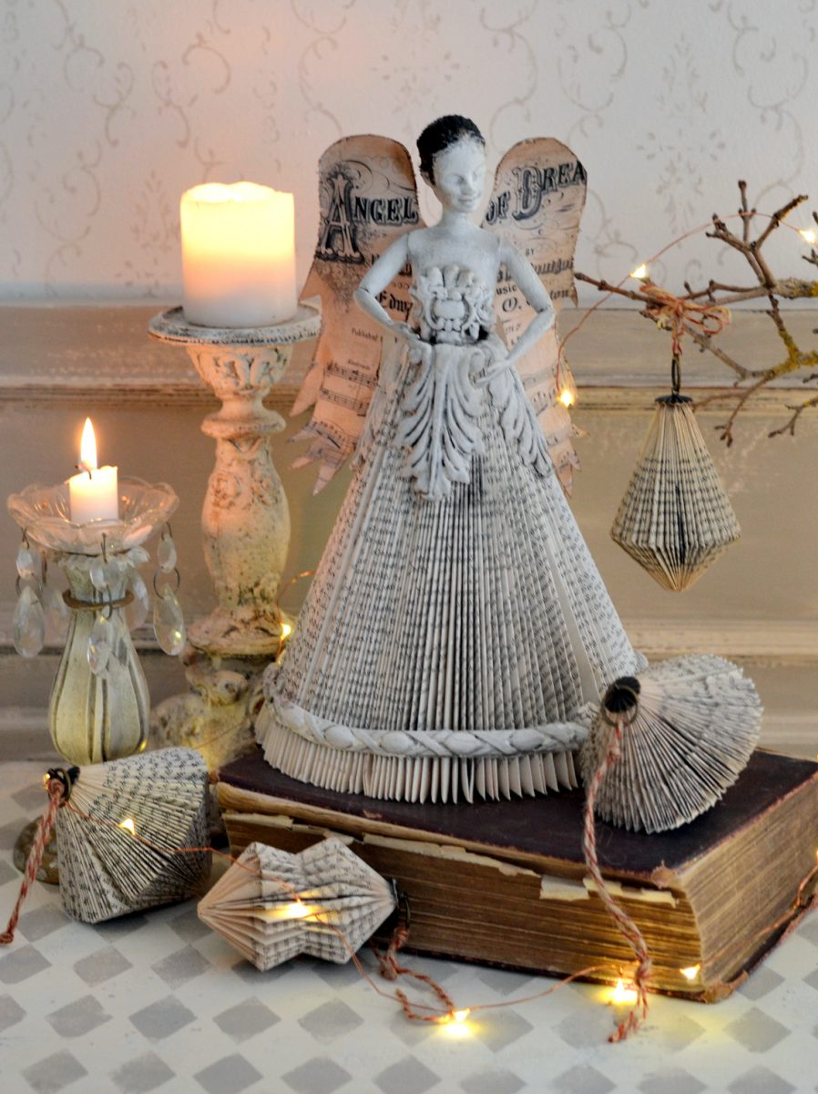 Artistic vintage style angel doll from a altered book