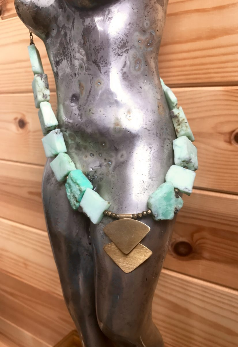 Raw Chrysocolla and 18ct yellow gold vermeil: