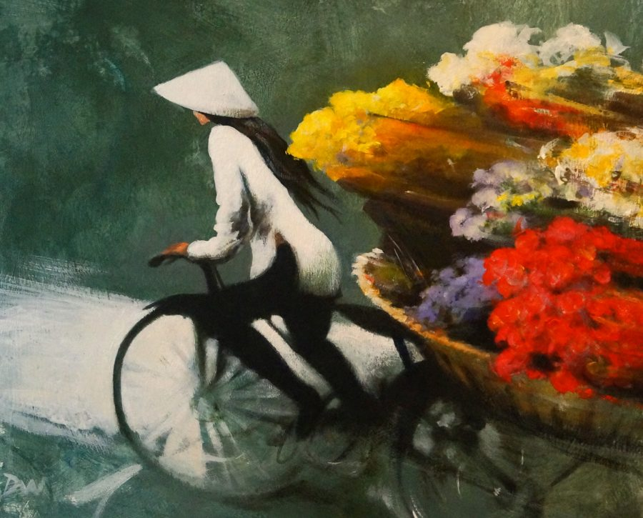 Flower Seller- David Williams Acrylic Painting