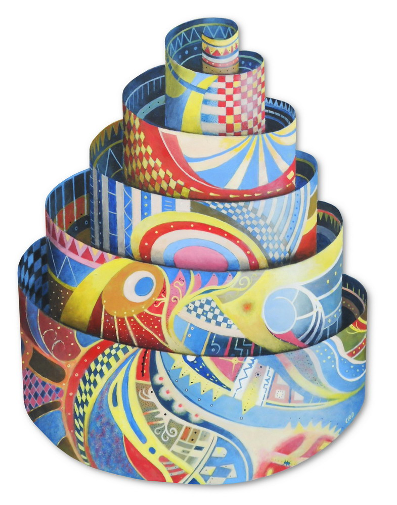 A two dimensional painting of a colourful unravelling spiral like a roll of paper, with a three dimensional effect