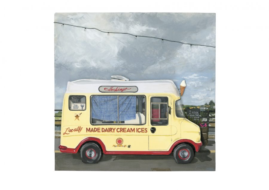 A 3D relief painting of a retro ice-cream van