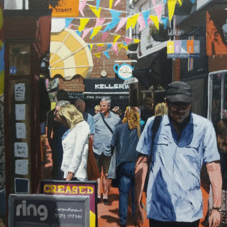 Brighton Lanes acrylic painting by Martin Thomas