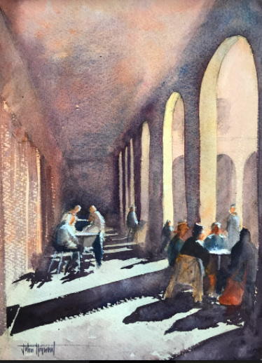Morning coffee, Barcelona, Watercolour