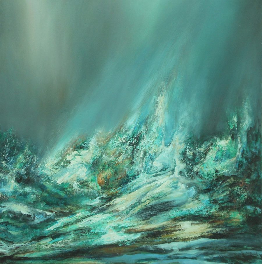 An oil on canvas painting that has the viewer at sea level amidst the spray currents and surface energy of the ocean.