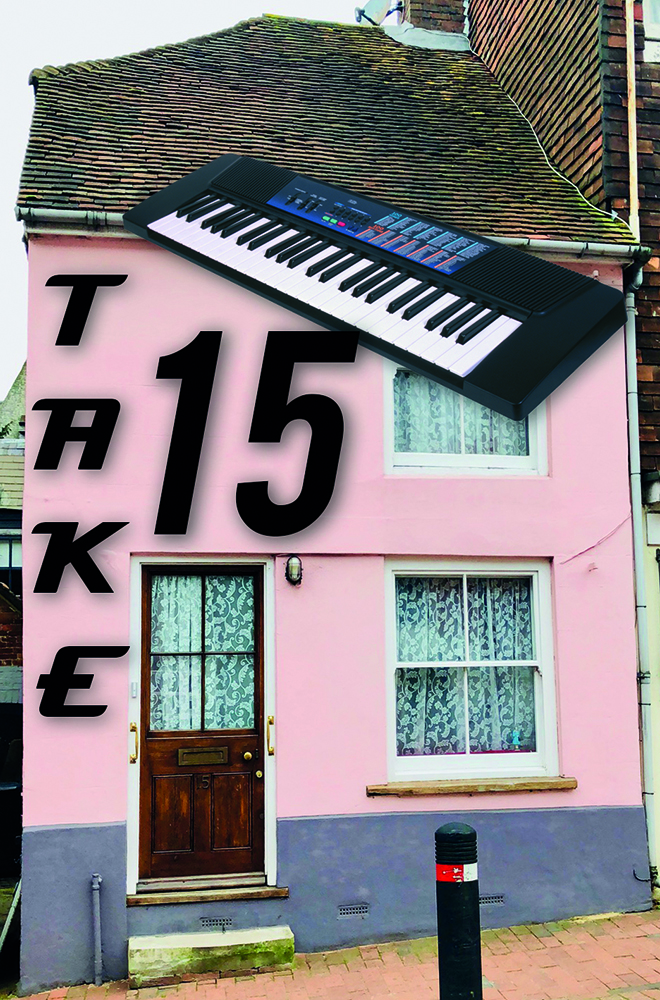 Pink Cottage with Keyboard on roof and take 15 text on front wall