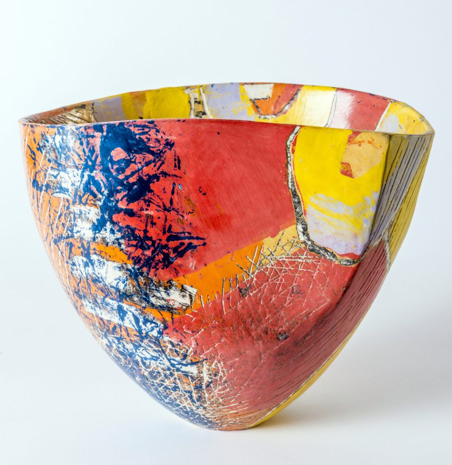 sculptural vessel, orange and red decoration
