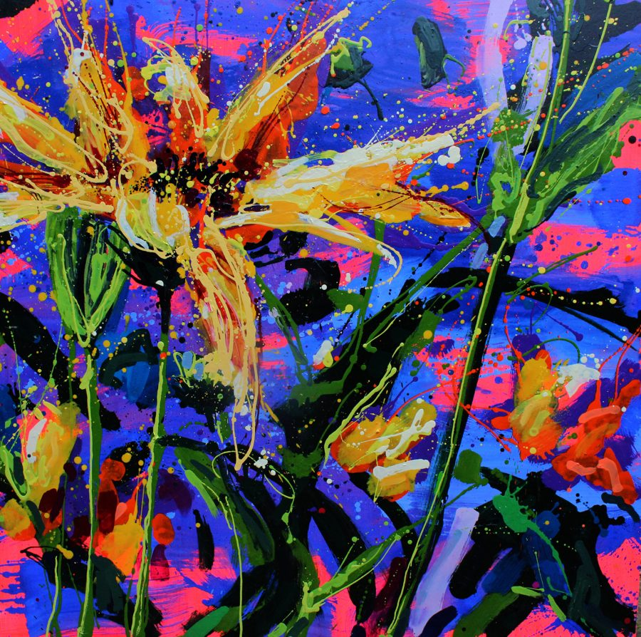 Large expressive oil painting of Heliopolis flower
