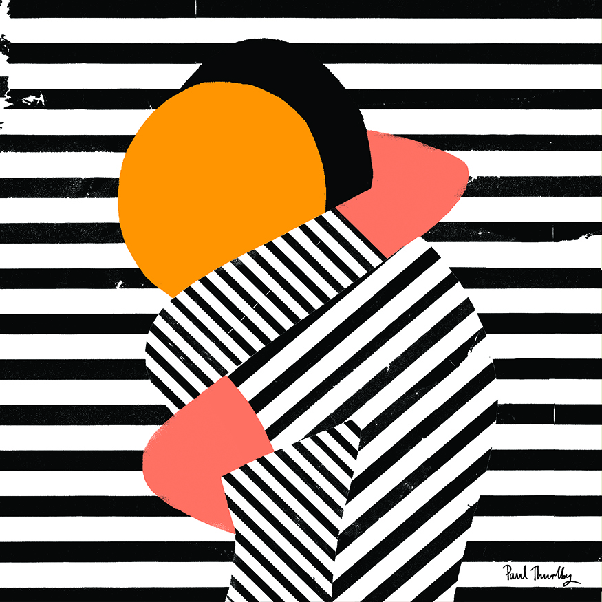 Black and White stripe illustration showing two figures embracing - with one figure's head as a bright yellow circle