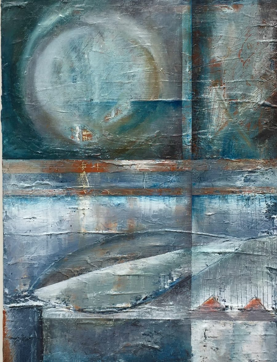 An abstract work of oil and wax on board entitled To Cuckmere.