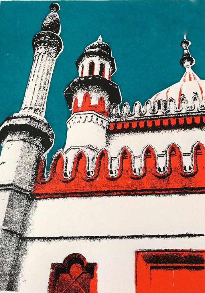 Screenprint of Brighton Pavilion with highlights in orange