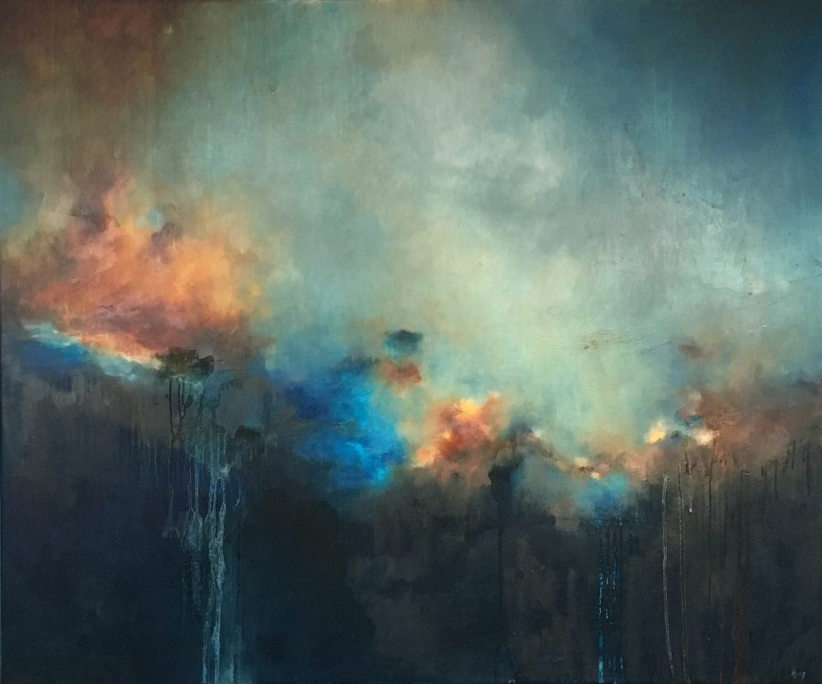 A large abstract painting. Resembles a skyscape with a Turner-esque palette.