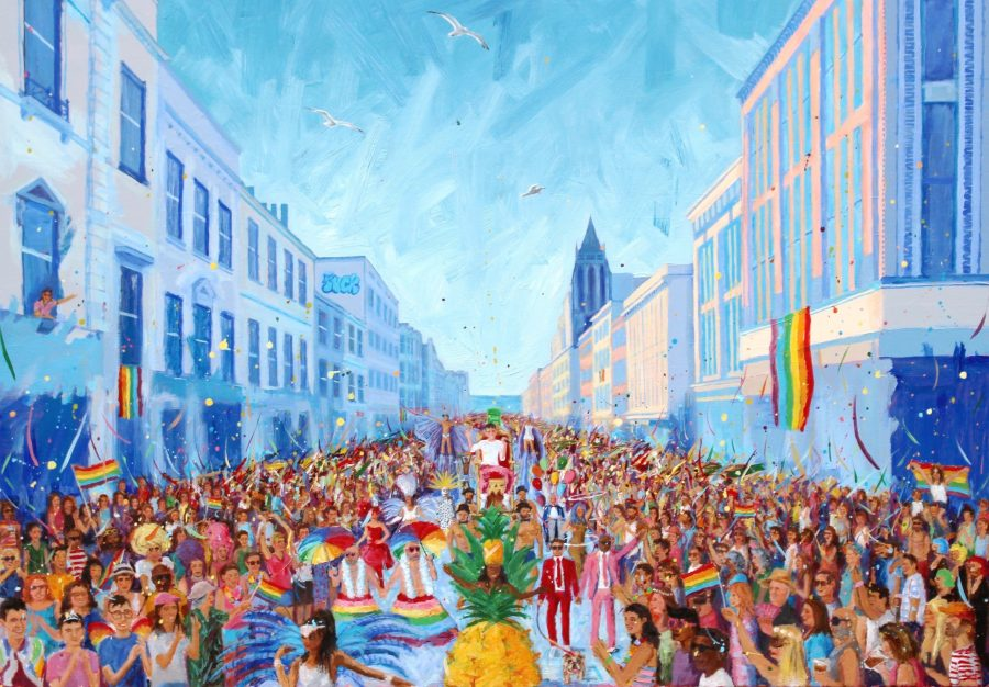 Colourful painting of Brighton Pride parade by Jack Smith
