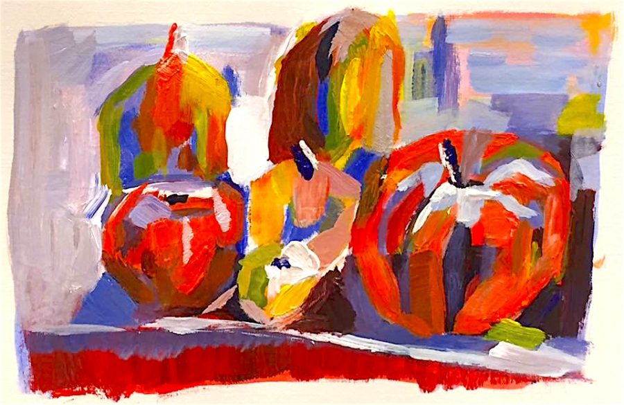 An acrylic, fruit still life study, made in the cafe during one of the art sessions.