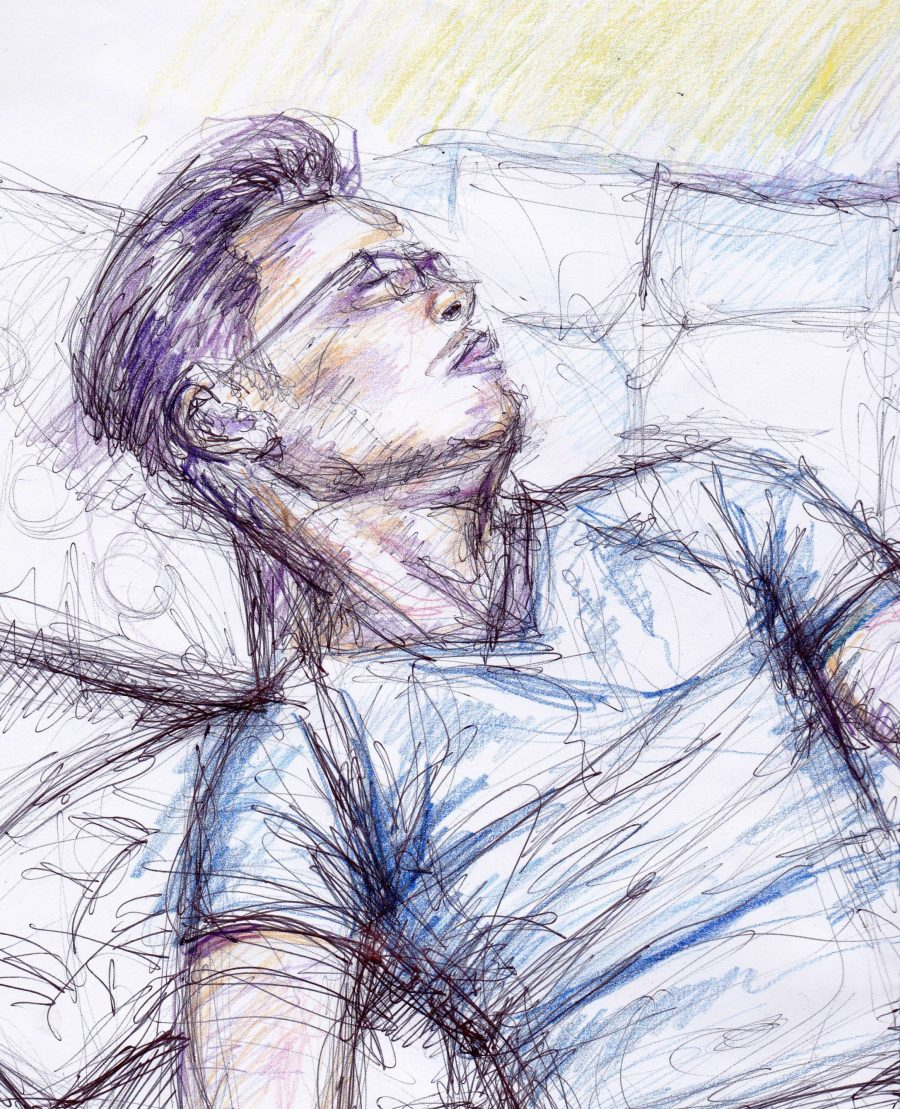 Biro and coloured pencil sketch of a man sleeping