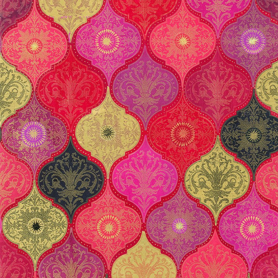 red patterned design in pink, red, and gold