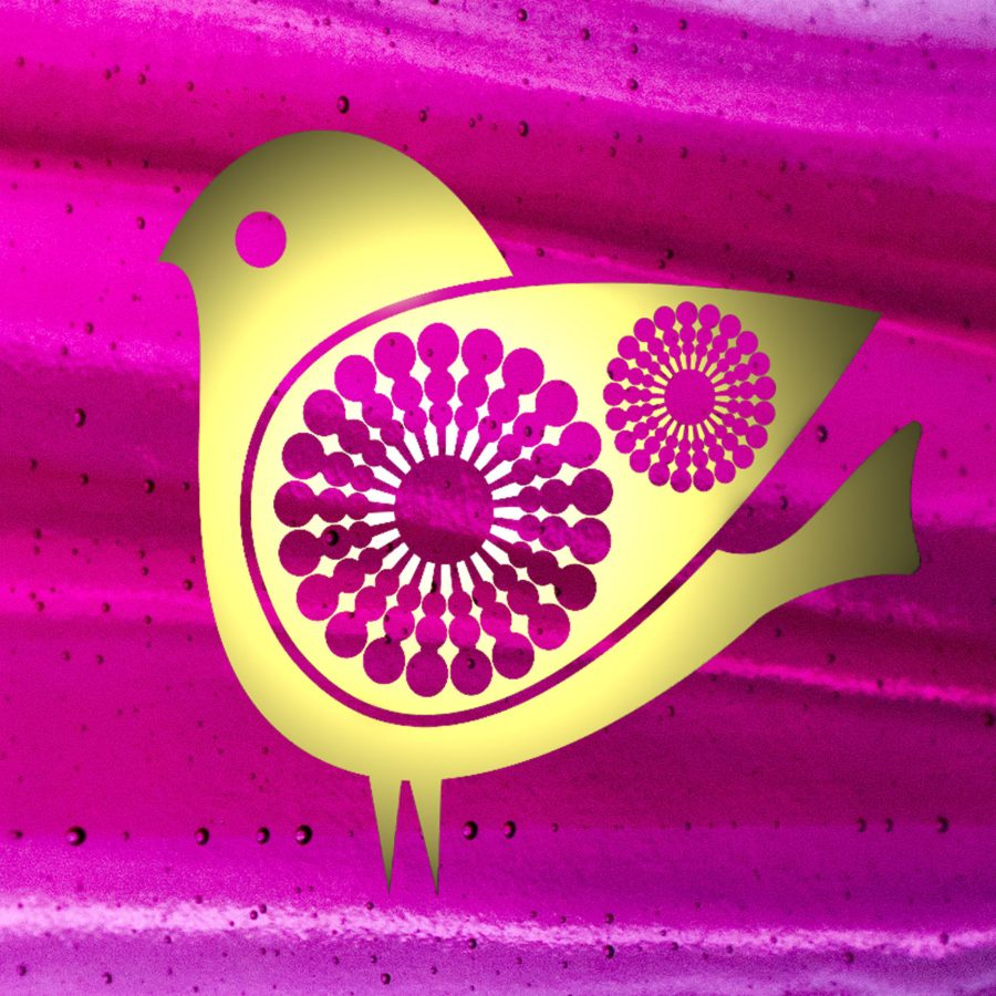 Image of bird in gold on vibrant pink glass