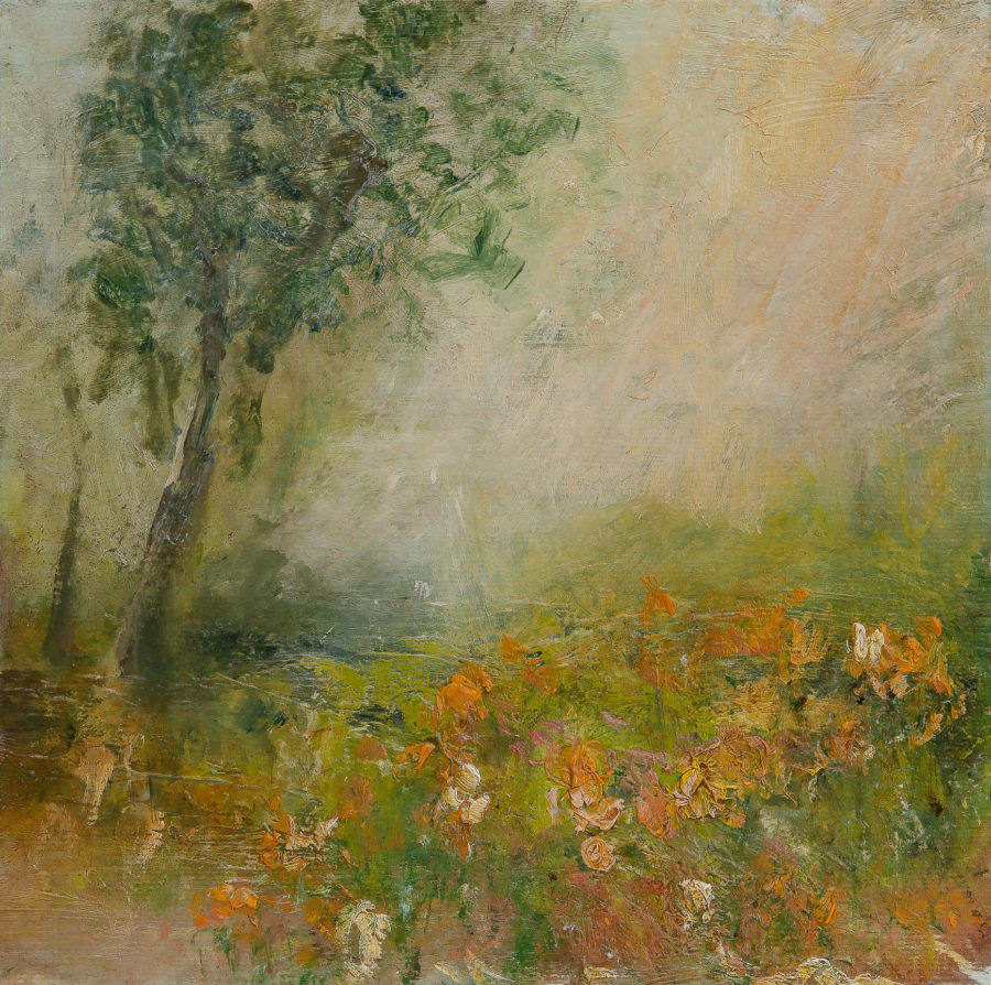 Impressionist painting of over hanging tree with land and flowers