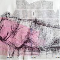 a biro sketch of a sleeping dog an a background of Chinese newsprint