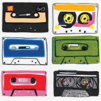 Bold, colourful linocut print of retro cassette tapes