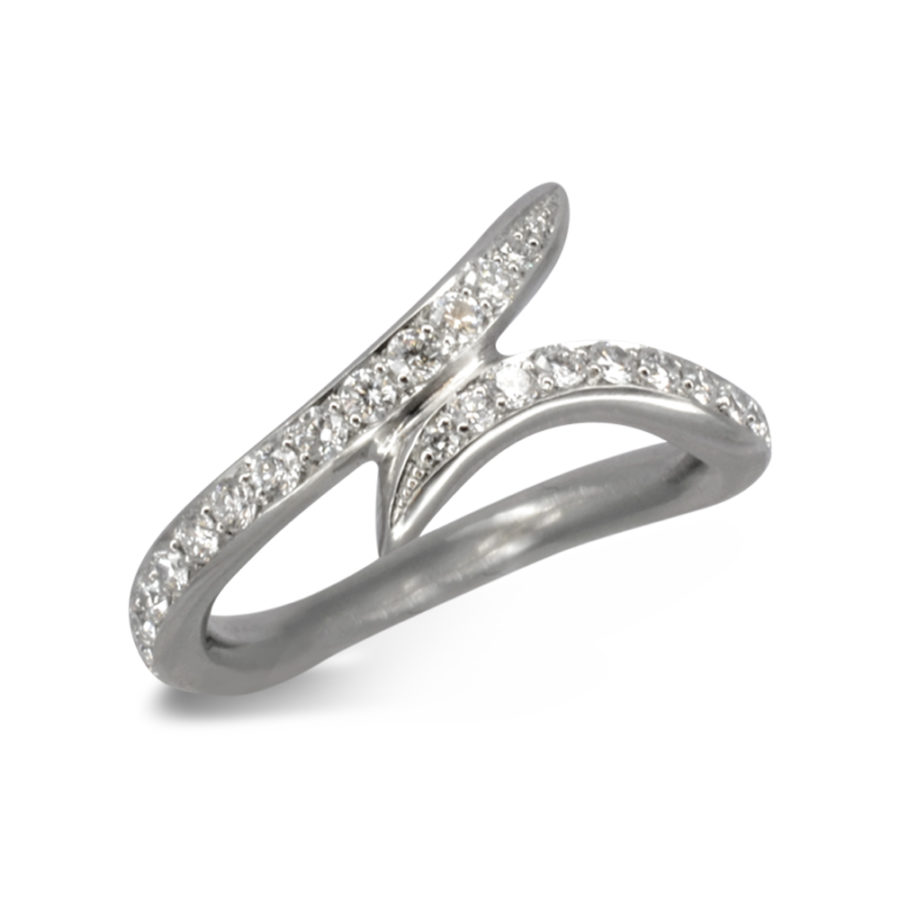 A spiky overlapping wedding ring pavé set with diamonds.
