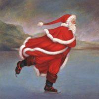 a red santa skating on ice