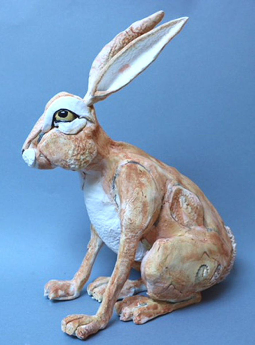 Characterful glazed ceramic sitting hare with tall ears
