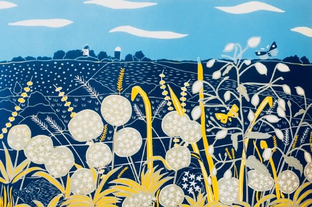 The predominately blue linocut features the South Downs, Jack and Jill Windmills at Clayton, a hedgehog, wild garlic, honesty and other wild flowers.