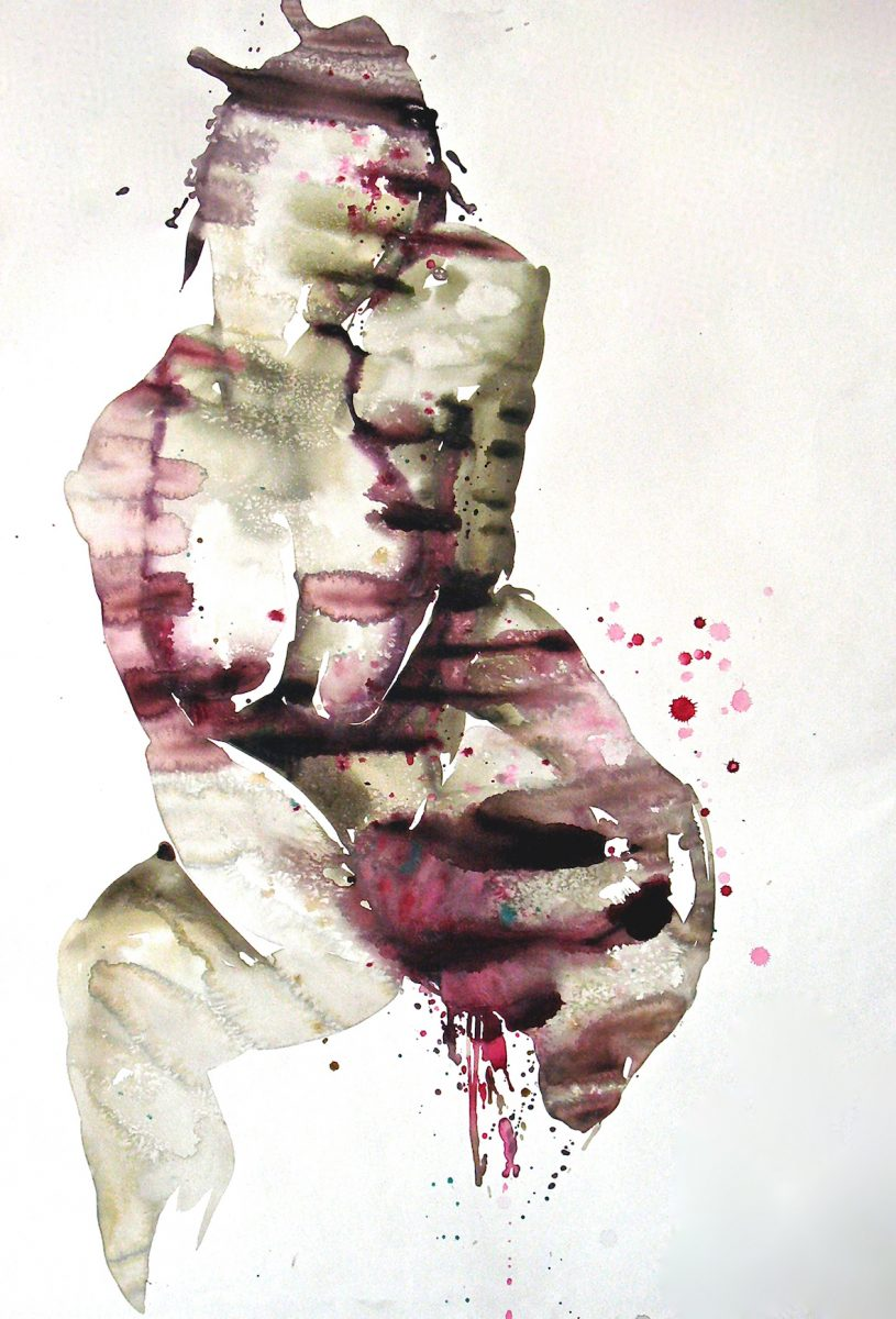 Large scale abstract watercolour nude painting