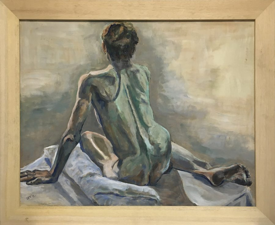 Seated/semi reclining nude. Acrylic on board 87 x 72 cm inc frame. Greens sepia palette