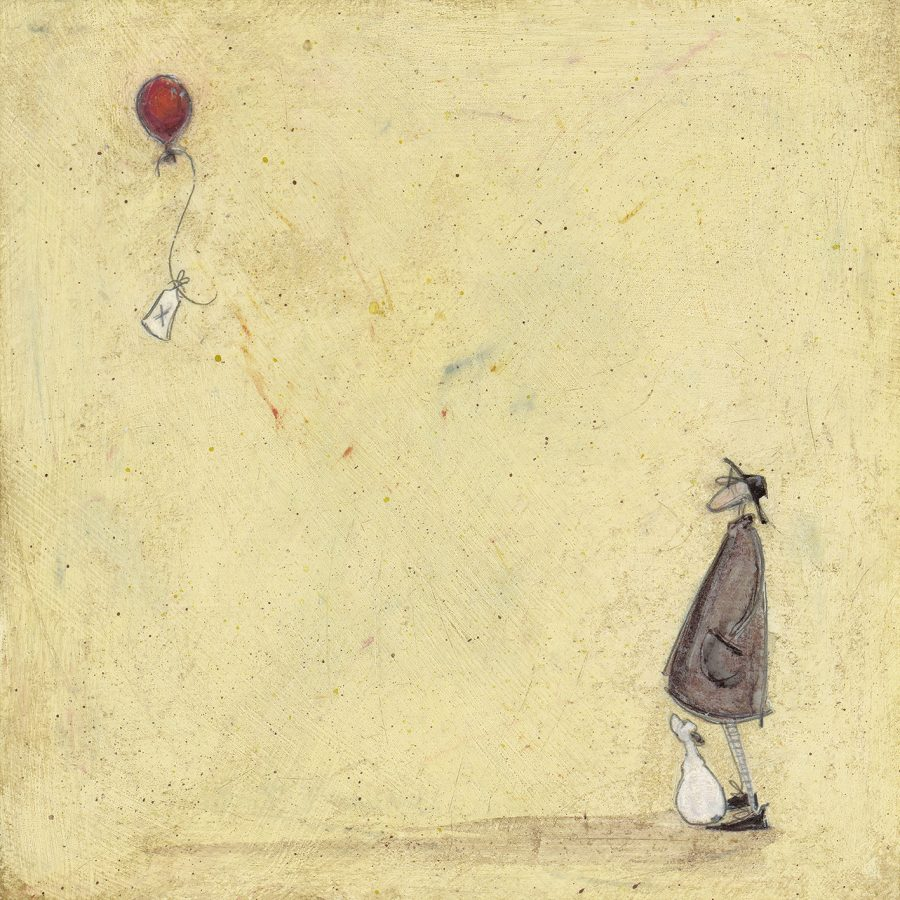 A man and his dog watch a red balloon float away