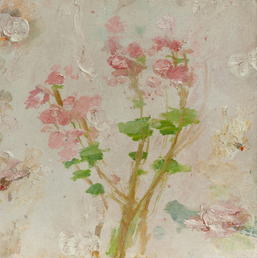 Painting of a Geranium plant showing pink petals and green leaves