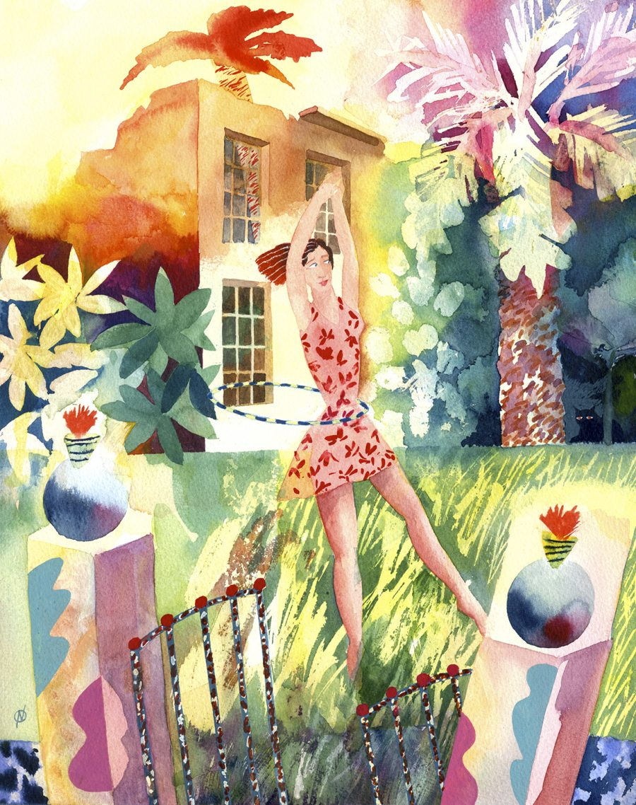 A woman dancing with a hula hoop in an overgrown garden with a ruined house in the background.
