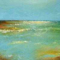 Horizon, where the sky meets the sea, vibrant blues, full of light.