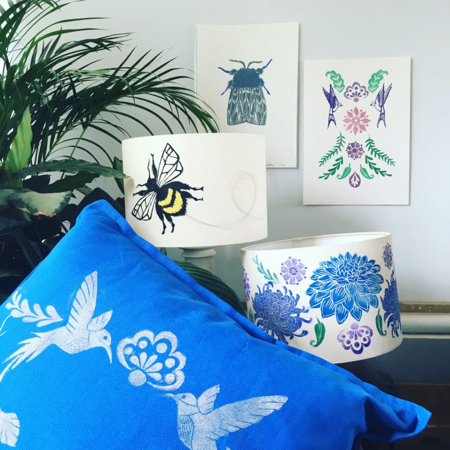 Textiles including lampshades and cushions