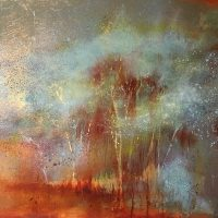 Abstract landscape with tree spirits, painted in oil with metal leaf and patination