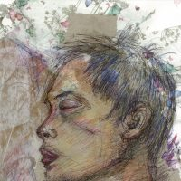 A biro and coloured pencil sketch of a sleeping man with butterfly collage background