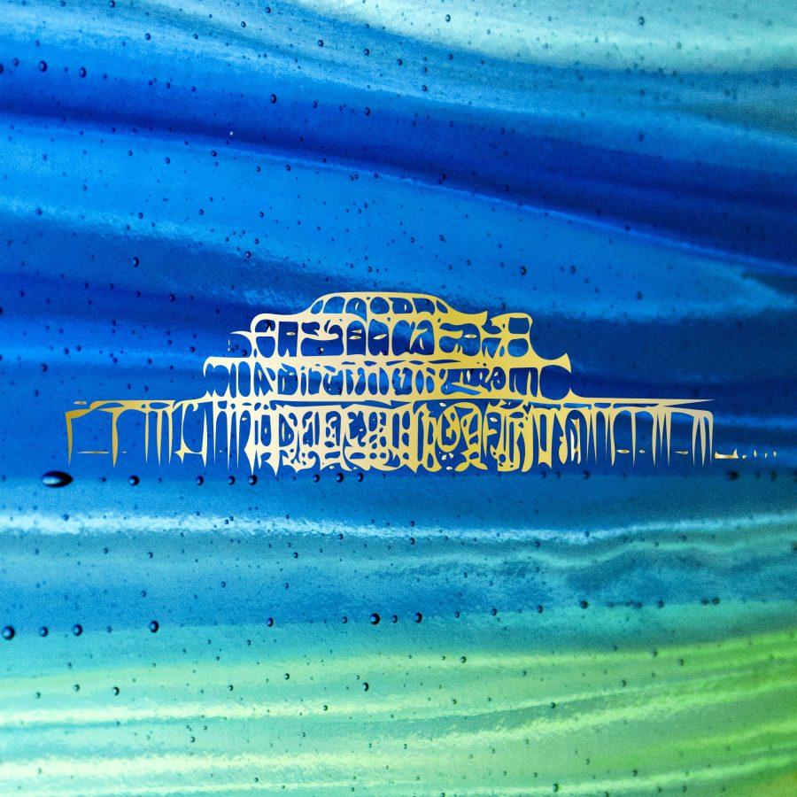 Aqua and blue fused glass tile with 22ct gold image of brighton West Pier.