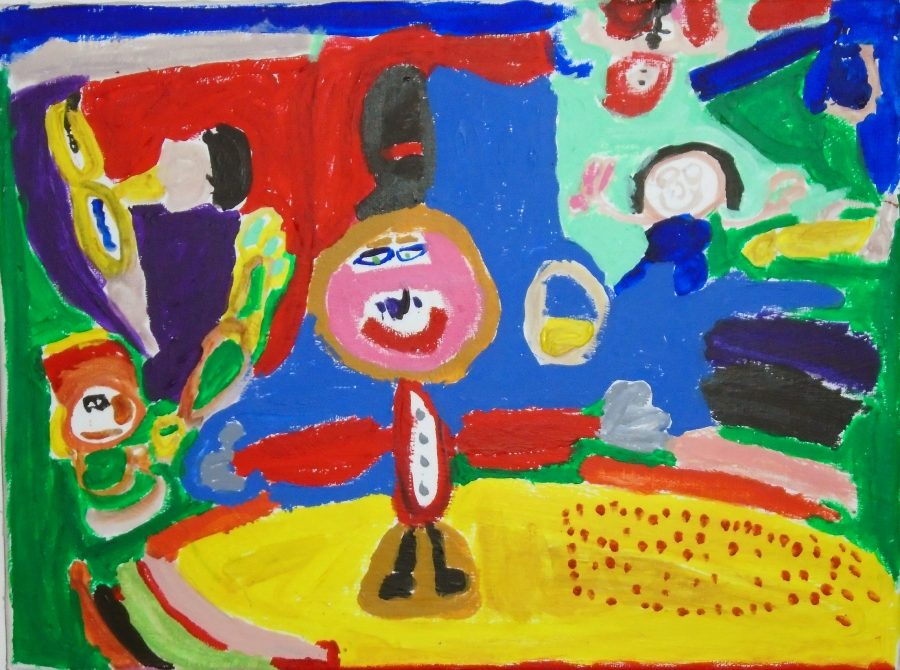 Colourful acrylic painting on canvas depicting a ringmaster in a circus tent