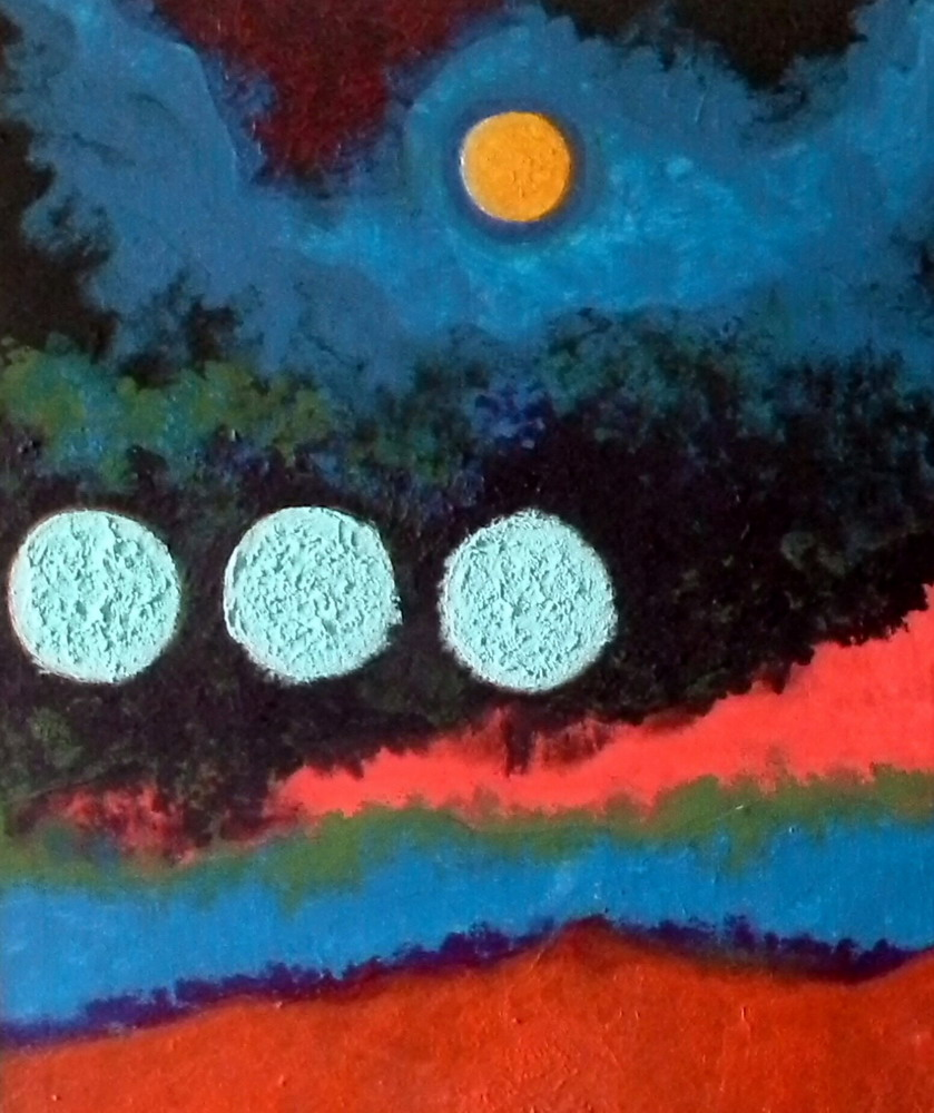 textured acrilic in bands merging in swirls of thick colour, turquoise, green-black, orange and pink with touches of purple and magenta. A golden disc is in the top quadrant and lower on the left are three large discs of rough pale blue. An alien landscape of lava and and storm with islands of calm