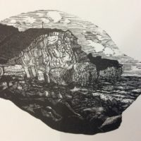 Black and white wood engraving of cliffs and sea near Rottingdean, lots of fine detail