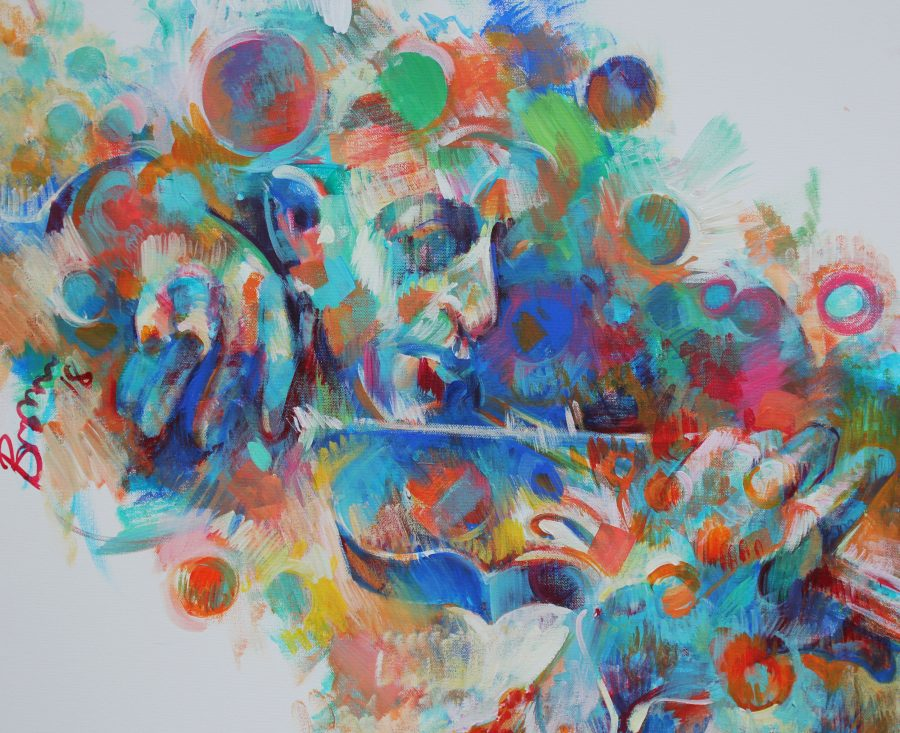 semi-abstract, colourful image of a man playing the violin