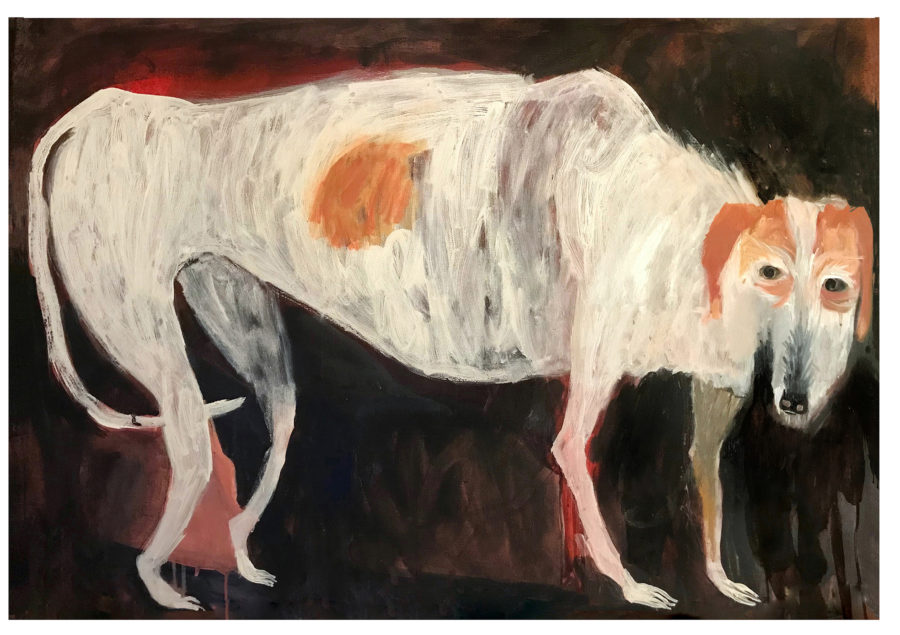 A large painting of an aged white dog on a painterly dark background