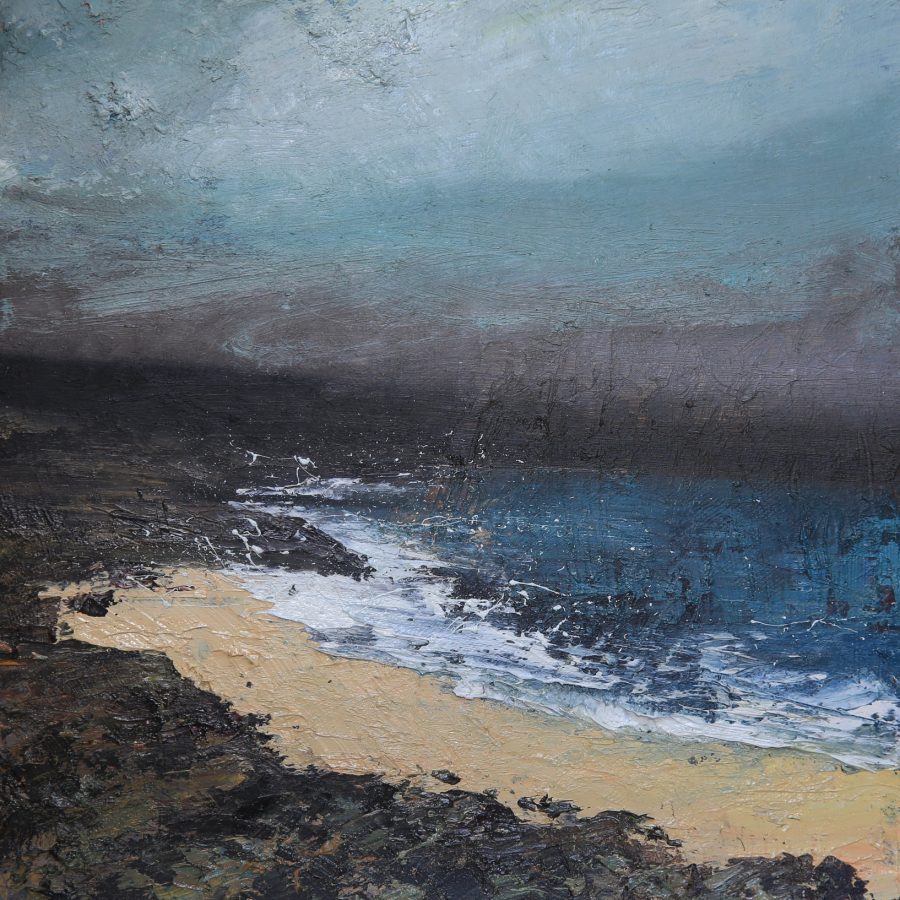 This painting is of a beach surrounded by rocks on a cold and dark day