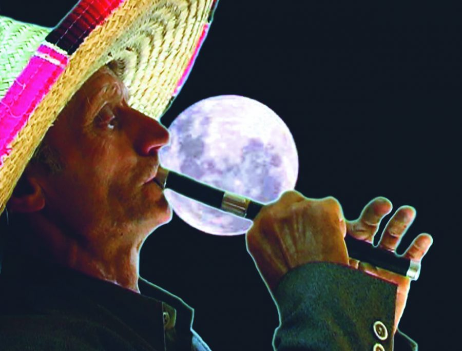 Flute playing on the full moon