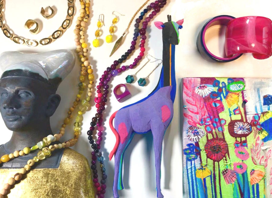 A compilation of handmade jewellery, and original abstract floral painting on canvas, a ceramic bust in gold and black and a giraffe carved from flip flops.