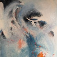 Abstract, dynamic brushstrokes, blue, white and orange tones.